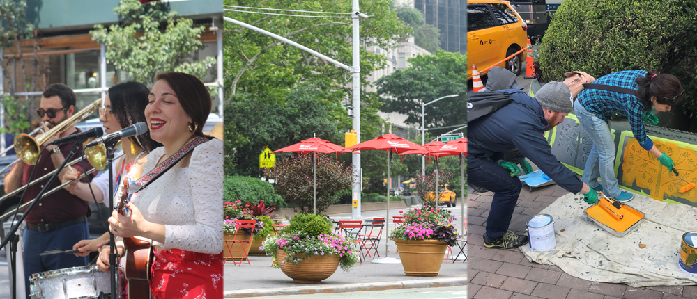 A collage image of a band performing at a summer concert in Richard Tucker Park_ BID planters and seating at Dante Park_ and volunteers painting for our Folk Art on Broadway installation