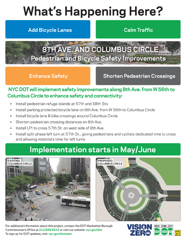 DOT flyer for Columbus Circle Bike Lane Project