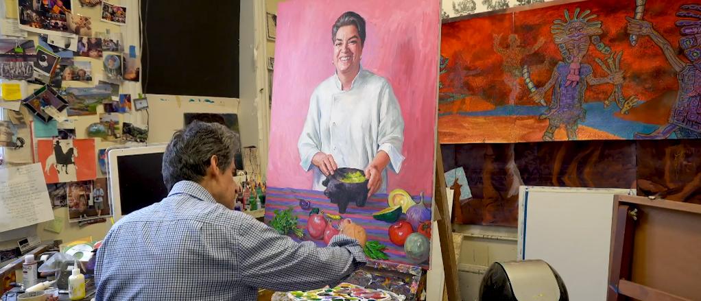 Artist Nestor Madalengoitia paints a portrait of Josefina Howard