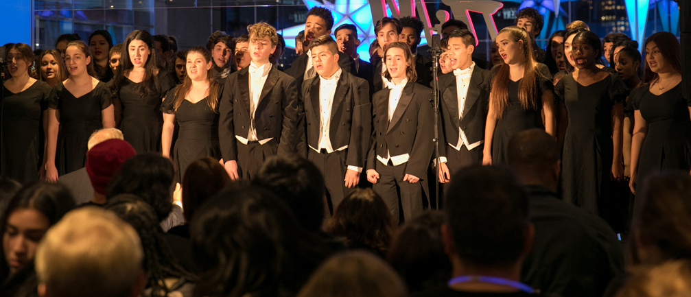 LaGuardia Show Choir performing at Winter_s Eve in 2018