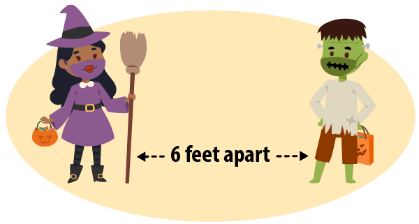 illustration of two children-one dressed as a witch and one as Frankenstein-standing 6 feet apart with a marker between them showing such
