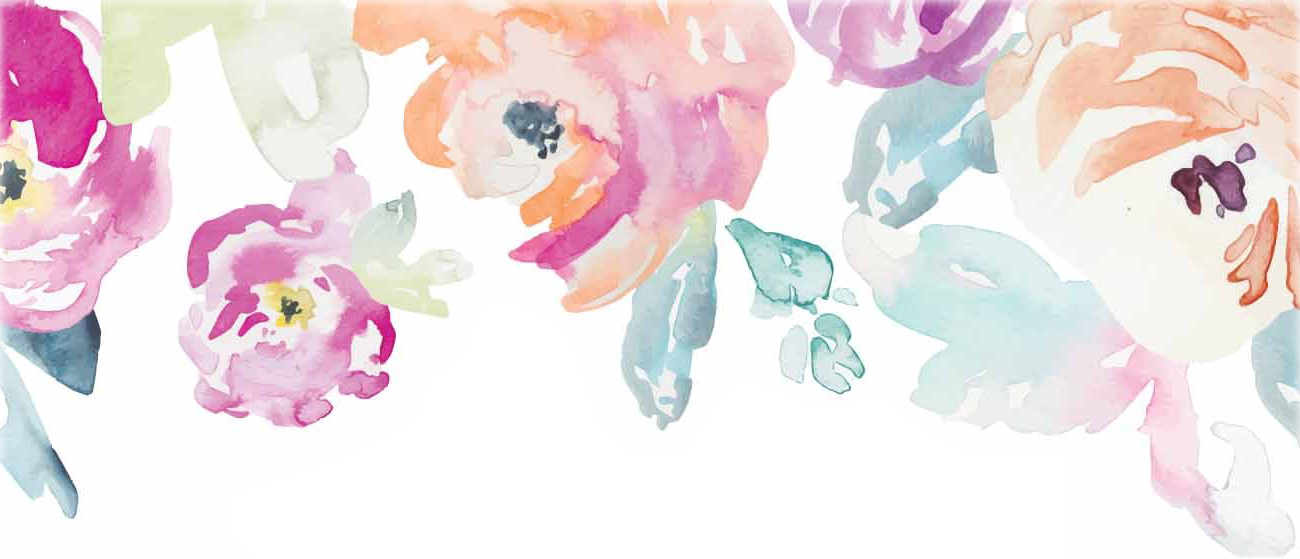 watercolor flowers in light pink and orange on a white background
