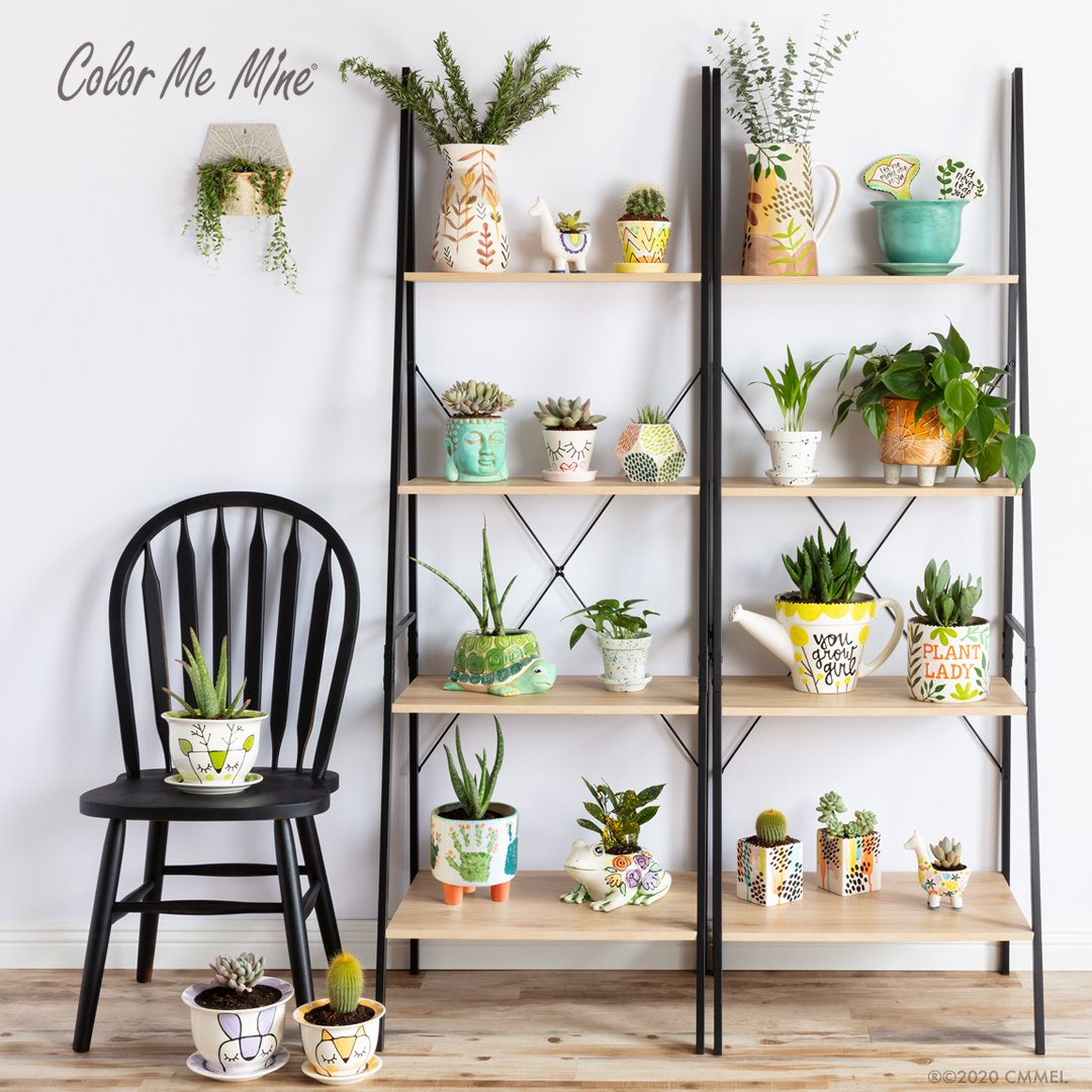 painter planters on tall shelves from Color Me Mine