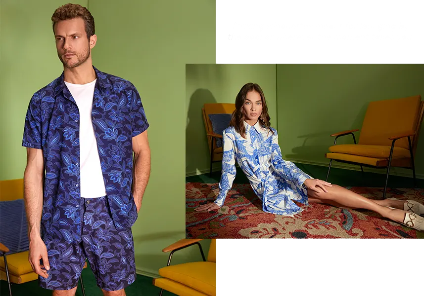 Robert Graham spring catalog image of a man and woman in floral spring attire