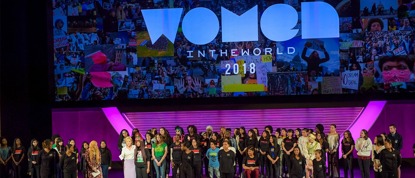 women on stage at the 2018 women in the world summit
