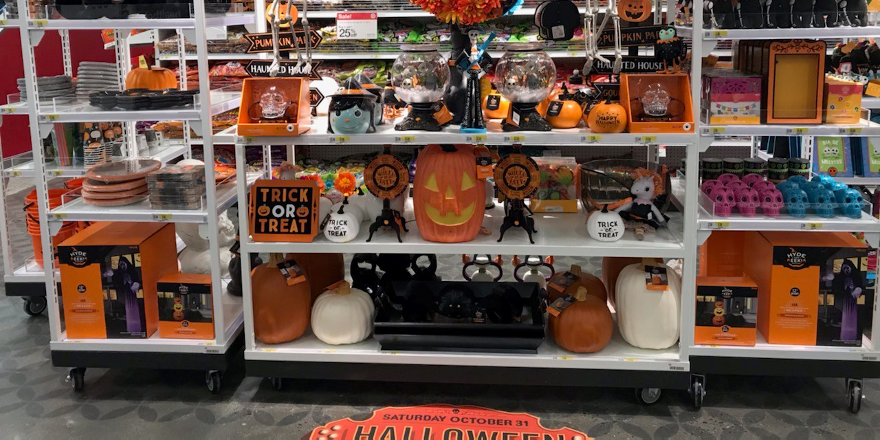 shelving with halloween decoration at the Target at 1863 Broadway