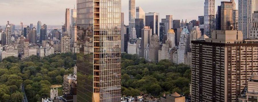 a rendering of the completed 50 West 66th Street site from an aerial view