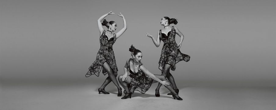 a dancer poses three times in a composit image