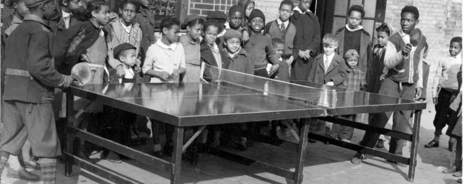 Children Playing Ping Pong in Marcus Garvey Park in 1943