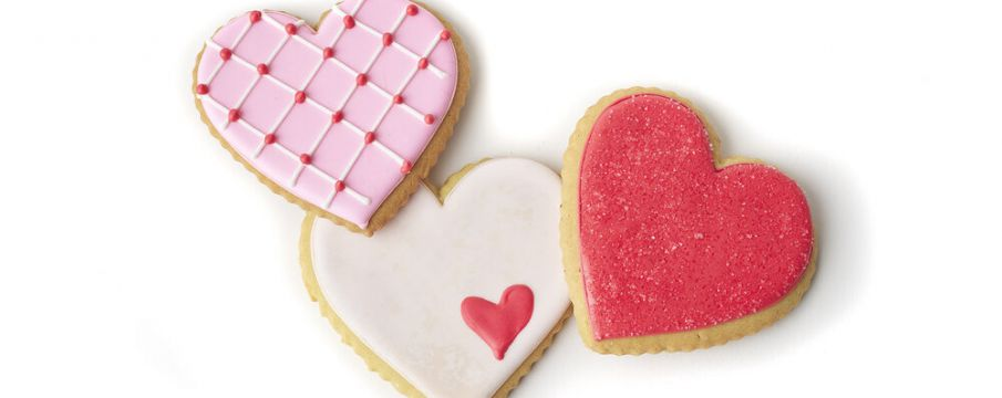 cookies for Valentine's Day painted pink, red, and white from Epicerie Boulud