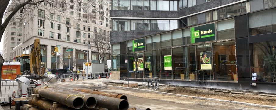 pipes wait to be installed on 62nd Street near TD Bank