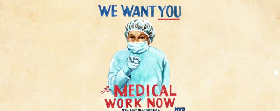 a nurse wearing scrubs poses in reference to uncle sam asking for help during COVID-19