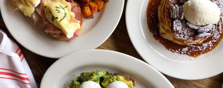 table spread of brunch dishes