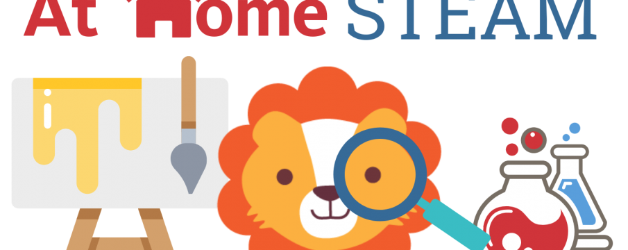graphic of lion with easel and test tubes