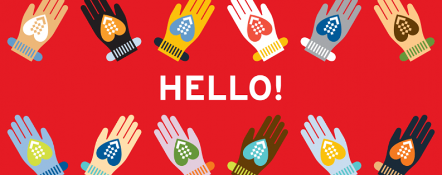 "graphic of hands waving and ""hello!"""