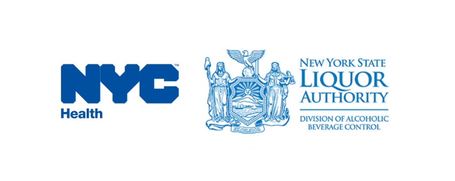 nyc health and NY state liquor authorities logos side by side