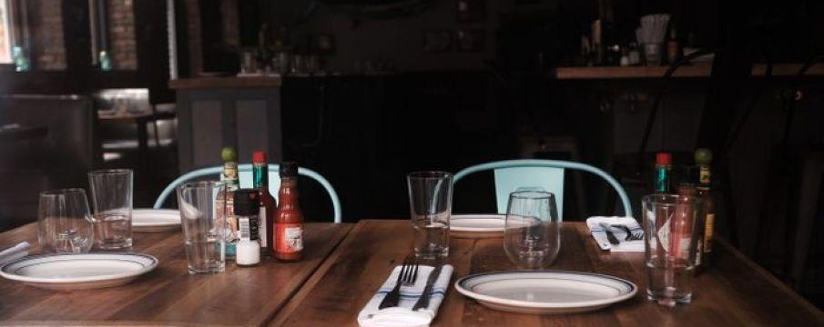 empty dining setup inside a restaurant