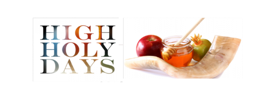the words high holy days with imagry of honey an apple and other holiday mementos