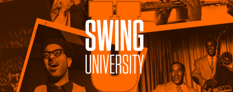 swing university logo with photos of musicians