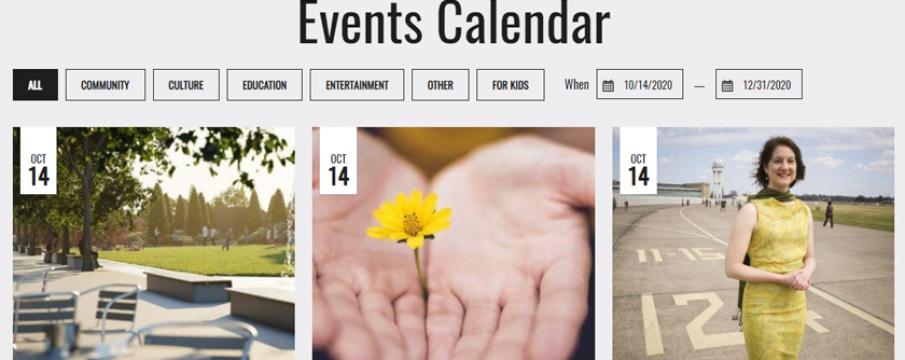 screenshot of the lsbid events calendar