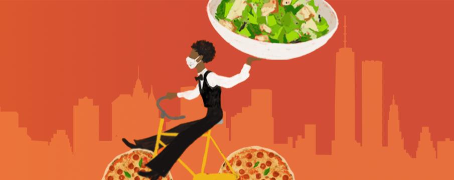 an illustration of a server delivering a big bowl of salad via bicycle