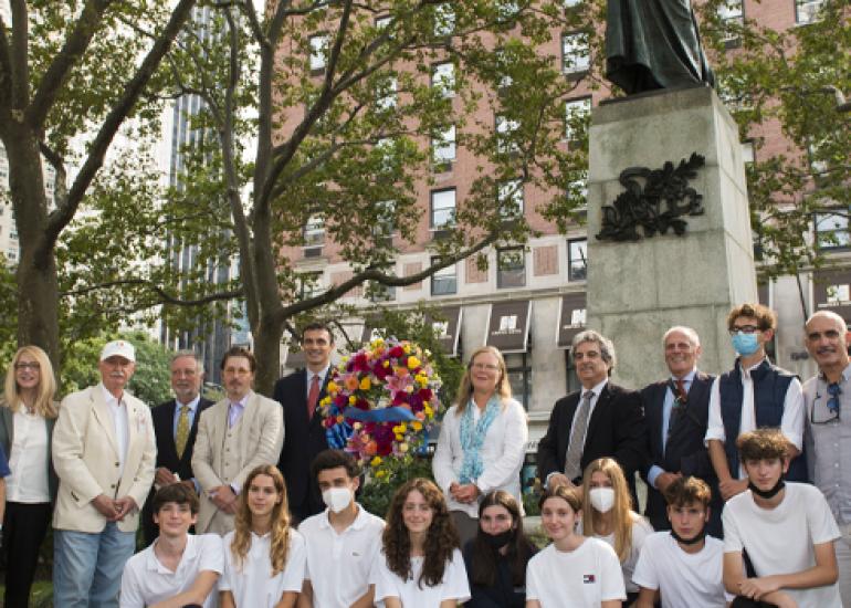 NYC Parks Rededicates Statue of Dante Alighieri at Dante Park