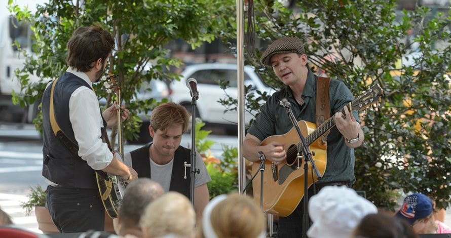 A band plays in Richard Tucker Park during the BID's Lunchtime Concert Series