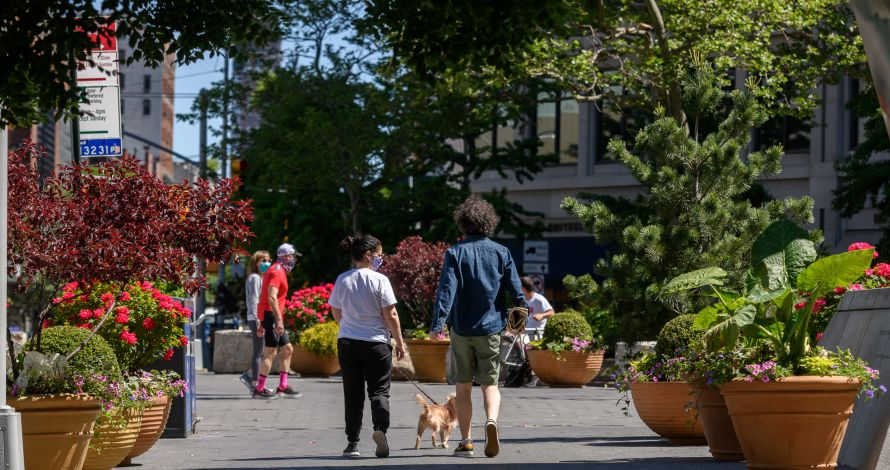 pedestrians walk through Dante Park's lush BID-planted rows of planters in the summer of 2020
